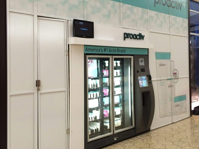 illuminated vending machine installation