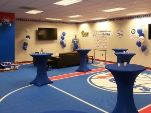 custom sports installation with floor graphics