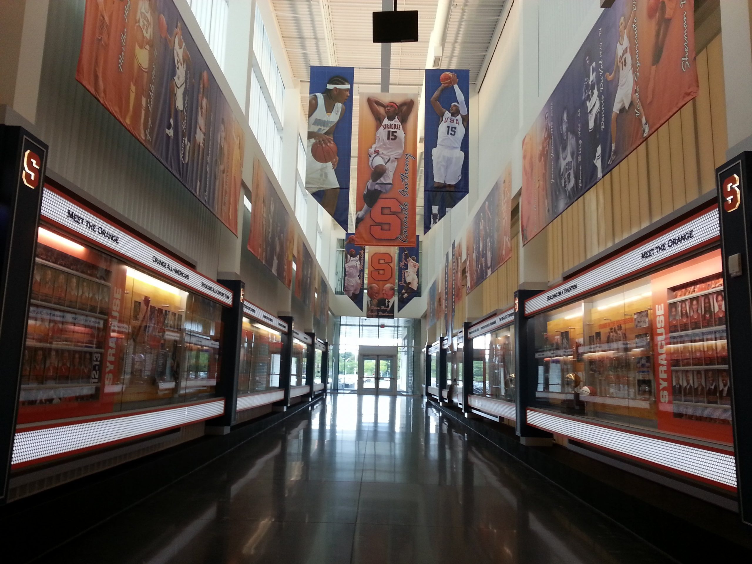 custom basketball installation with vertical banners